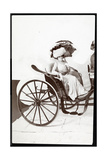 A Fashion Model Seated in a Carriage Holding a Parasol, 1902 Giclee Print by  Byron Company