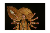 Statue of Goddess Durga at Durja Pooja Festival Giclee Print by  Indian School
