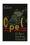 German Advertisement for Opel Car Manufacturer, Printed by Hollerbaum Und Schmidt, Berlin, before… Giclee Print by German School