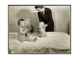 Two Babies Sitting Up in Bed, One Being Supported by a Nurse, the Other Holding a Toy Car and… Giclee Print by  Byron Company