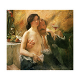 Self Portrait with Nude Woman and Glass, 1902 Gicleetryck av Lovis Corinth
