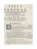 Programme for an Auto Da Fe in Lisbon, 1746, from 'The Spanish Inquisition' by Cecil Roth,… Giclee Print by  Portuguese School