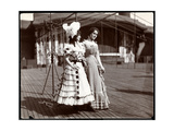 Two Actresses in Costume Rehearsing on the Roof of What Is Probably the New York Theatre, New… Giclee Print by  Byron Company