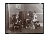 Man and Woman Playing a Player Piano, New York, 1907 Giclee Print by  Byron Company