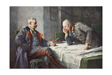General Von Hindenburg and Generalquartiermeister Erich Von Ludendorff at the Map Table Giclee Print by Hugo Vogel