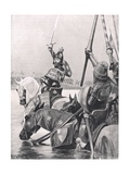 Edward III Crossing the Somme before the Battle of Crecy, Illustration from 'British Battles on… Giclee Print by Richard Caton Woodville II