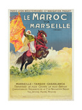 Morocco and Marseille Poster, 1913 Giclée-tryk af Ernest Louis Lessieux