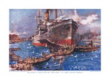 The Landing of Troops from the 'River Clyde' at V Beach, Gallipoli Peninsula, Illustration from… Giclee Print by Charles Edward Dixon