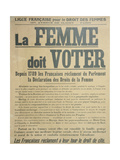 'Women Must Vote', Poster Encouraging Women to Fight for Voting Rights, 1914 Giclee Print by  French School