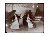Four Women Seated at Pianos at the Estey Piano Corporation, 1908 Giclee Print by  Byron Company