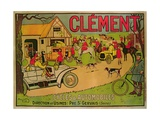 Poster Advertising 'Cycles and Motorcars Clement', Pre Saint-Gervais, 1906 Giclee Print by  French School