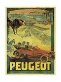 Poster Advertising Peugeot Cars, c.1908 Giclée-Druck von Francisco Tamagno