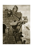 The Siege of Carmarthen Castle, 1145 Giclee Print by John Harris Valda
