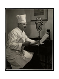 Portrait of Chef Maurice Hervieux at the Microphone at the Hotel Commodore, 1930 Giclee Print by  Byron Company