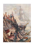 Crippled But Unconquered: The Belleisle at Trafalgar on 21st October 1805, Illustration from… Giclee Print by William Lionel Wyllie