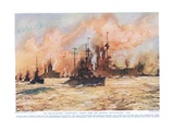 The Battle-Cruiser 'Indomitable' Towing Home the Wounded Battle-Cruiser 'Lion', Illustration from… Giclee Print by Charles Edward Dixon