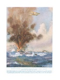Squadron-Commander A.W. Bigsworth Attacks with Bombs a German Submarine, Which Fills with Water… Giclee Print by Joseph Harold Swanwick