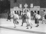 Berliners Returning from a Visit to the Countryside with Rucksacks Full of Food, Berlin, 31st… Photographic Print by  German photographer