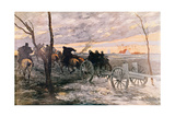 Sunset in the Valley of Yser: a 75 Cannon Being Wheeled to a Strategic Position, c.1914 Giclee Print by Georges Bertin Scott