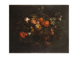 A Bouquet of Fruit and Flowers Hanging from a Nail in a Niche Giclee Print by Cornelis De Heem