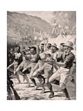 Maori Soldiers Perform a Haka at Gaba Tepe on the Gallipoli Peninsula Turkey 1915, from 'The War… Giclee Print by  English School