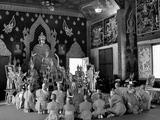 A Monk and His Young Novices in a Temple Photographic Print