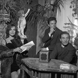 Antonella Lualdi, Her Husband Franco Interlenghi and Pier Paolo Pasolini Celebrate the First Day… Lámina fotográfica