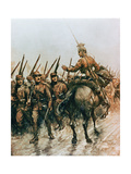 Lancer of the Belgian Guides Corps Passing French Infantry Marching to the Front in 1914 Giclee Print by Christopher Clark