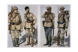 Turkish Infantryman and Officer (Left) and Bulgarian Infantry Officer and Foot Soldier of 1917… Giclee Print by E. Dobrich