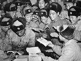 Members of the Chinese People's Liberation Army Distributing Communist Literature in Shanghai, 1959 Photographic Print by  Chinese Photographer