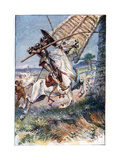 And Running His Lance into the Sail, Illustration from 'The Adventures of Don Quixote', Published… Giclee Print by Paul Hardy
