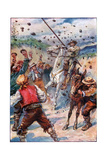 They Pelted Don Quixote with a Shower of Stones, Illustration from 'The Adventures of Don… Giclee Print by Paul Hardy