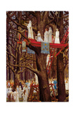 Druids Cutting the Mistletoe on the Sixth Day of the Moon Lámina giclée por Henri-Paul Motte
