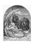 The Dying King Arthur Is Carried Away to Avalon on a Magical Ship with Three Queens, 1901 Giclee Print by  Dalziel Brothers