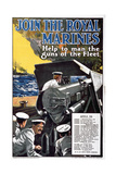 'Join the Royal Marines - Help to Man the Guns of the Fleet', World War I Recruitment Poster Giclee Print by  English School