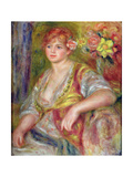Blonde Woman with a Rose, c.1915-17 Giclee Print by Pierre-Auguste Renoir