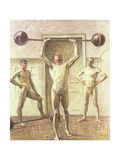 Pushing Weights with Two Arms, Number 3, 1914 Giclee Print by Eugene Jansson