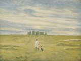 Stonehenge and Figure, 1910 Photographic Print by Edgar Barclay