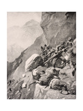 Italian Troops Levering Boulders Down onto Enemy Soldiers in the Dolomities, 1915, from 'The War… Giclee Print by  English School