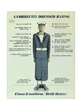 A Correctly Dressed Rating, Class II Uniform (Drill Order), 1957 Giclee Print by  English School