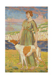 Portrait of Elizabeth Lipczinski with Her Dog Fanny, c.1911-12 Giclee Print by Derwent Lees