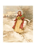 A Colonial Red Riding Hood Giclee Print by Edward Percy Moran