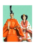 Hirohito and His Wife in Ceremonial Robes at the Coronation in 1928 Giclee Print by John Keay