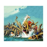 Death of Maxentius at the Battle of Milvian Bridge Giclee Print by Severino Baraldi
