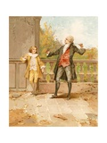 The Fencing Lesson Giclee Print by Edward Percy Moran