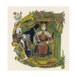 Ornamental Letter E, Incorporating Portrait of Queen Elizabeth I Giclee Print by Henry Shaw