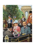 Edward VII Being Coolly Received by the Parisians Giclee Print by Clive Uptton