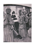 Queen Alexandria Serving Soldiers from a Buffet at London Railway Station Giclee Print by William Hatherell