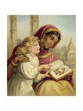 A Scripture Lesson - Indian Girl Teaching an English Child Giclee Print by  English School