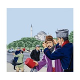 Replacing the Traditional Fez in Turkey Giclee Print by John Keay